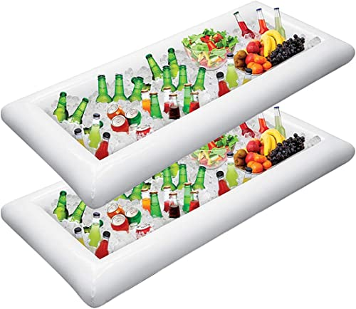 Jasonwell 2 PCS Inflatable Serving Bars Ice Buffet Salad Serving Trays Food Drink Holder Cooler Containers Indoor Out...