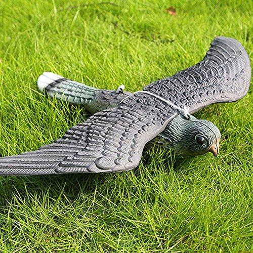 SUNERLORY Faux Oiseau Leurre Dissuasif Faucon Faucon Chasse d'oiseaux Leurre Effrayeur Réaliste avec des Cordes Suspendues Jardin Décoration Et Repousseur d'oiseaux