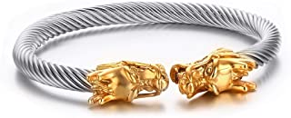 Mealguet Jewelry Mens Stainless Steel Opposite Dragon-Themed Twisted Wire Viking Cuff Bangle Bracelet,4 Color