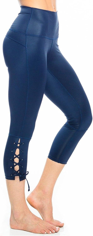 Anjali Lace up Capri Womens Active Workout Yoga Leggings
