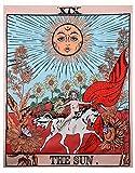 Peoxio Tarot Wandteppich,Mond, Stern, Sonne, Mittelalterliches Europa, Divination Tapisserie, Wandbehang, Dekoration, geheimnisvoll für Schlafzimmer, Heimdekoration (The Sun, 51'×59')