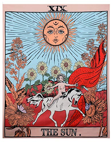 Peoxio Mazheny Tarot Wall Tapestry The Moon The Star and Sun Tapestry Medieval Europe Divination Tapestry Wall Hanging Decorations Mysterious For Bedroom Home Decor (The Sun, 51'×59')