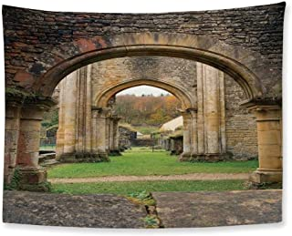 TecBillion Antique Decor Soft Tapestry,Autumn View on The Ancient Ruins of Famous Medieval Century in Belgium for Living Room Bedroom,78