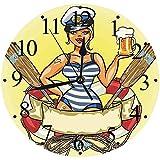 Yaoni Silencioso Wall Clock Decoración de hogar de Reloj de Redondo,Chicas, Pin Up Sexy Sailor Girl ...