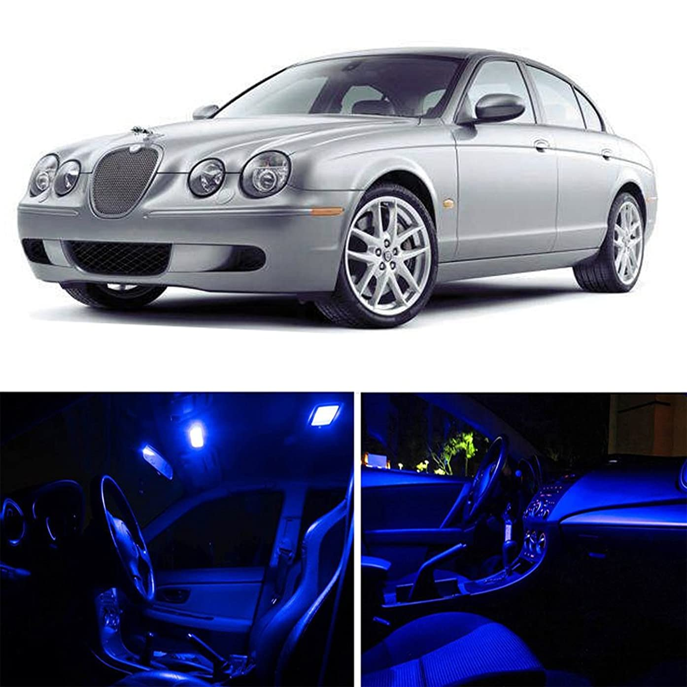 cciyu Replacement fit for Jaguar S-Type 2000-2008 Package Kit Blue LED Interior Light Accessories Replacement Parts 13 Pack