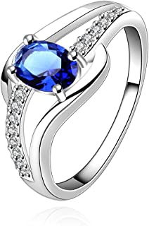 Yellow Chimes Blue Rich Royal Austrian Crystal Sterling Silver Ring for Girls and Women