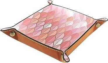 KAMEARI Skórzana taca koralowa czerwona syrenka ryba łuska wzór klucz telefon moneta pudełko skóra bydlęca taca na monety ...