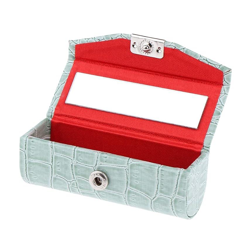 聴くインレイ欠乏B Baosity 口紅ケース コインケース ミラー付き リップグロス ジュエリー 収納ボックス 多色選べ - グレイシャーグリーン