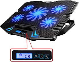 TopMate C5 12-15.6 inch Gaming Laptop Cooler Cooling Pad | 5 Quiet Fans and LCD Screen | 2500RPM Strong Wind Designed for Gamers and Office