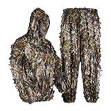 LOOGU Traje de camuflaje ligero para adultos, ideal para airsoft, caza, fotografía de vida silvestre, observación de pájaros, Halloween, tiro M/L