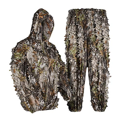 LOOGU 3D Leaves Ghillie Suits Lightweight Camo Suit Adult ideal for Airsoft,Hunting,Wildlife Photography, Bird Watching,Halloween, Shooting XL/XXL