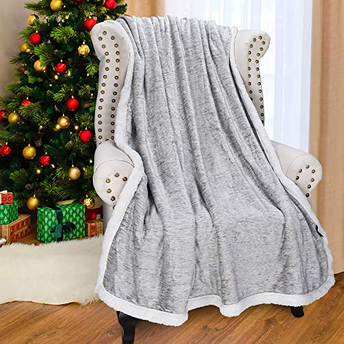 "Catalonia Grey Sherpa Throw Blanket,Super Soft Fluffy Fuzzy Comfy Velvet Plush Fleece TV Blankets and Throws for Sofa Couch Bed for Adults Child, 50""x60"",Melange"