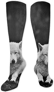 Calcetines de compresión para hombre y mujer – Mejores para correr, deportes atléticos, varices, viajes-lobos negro