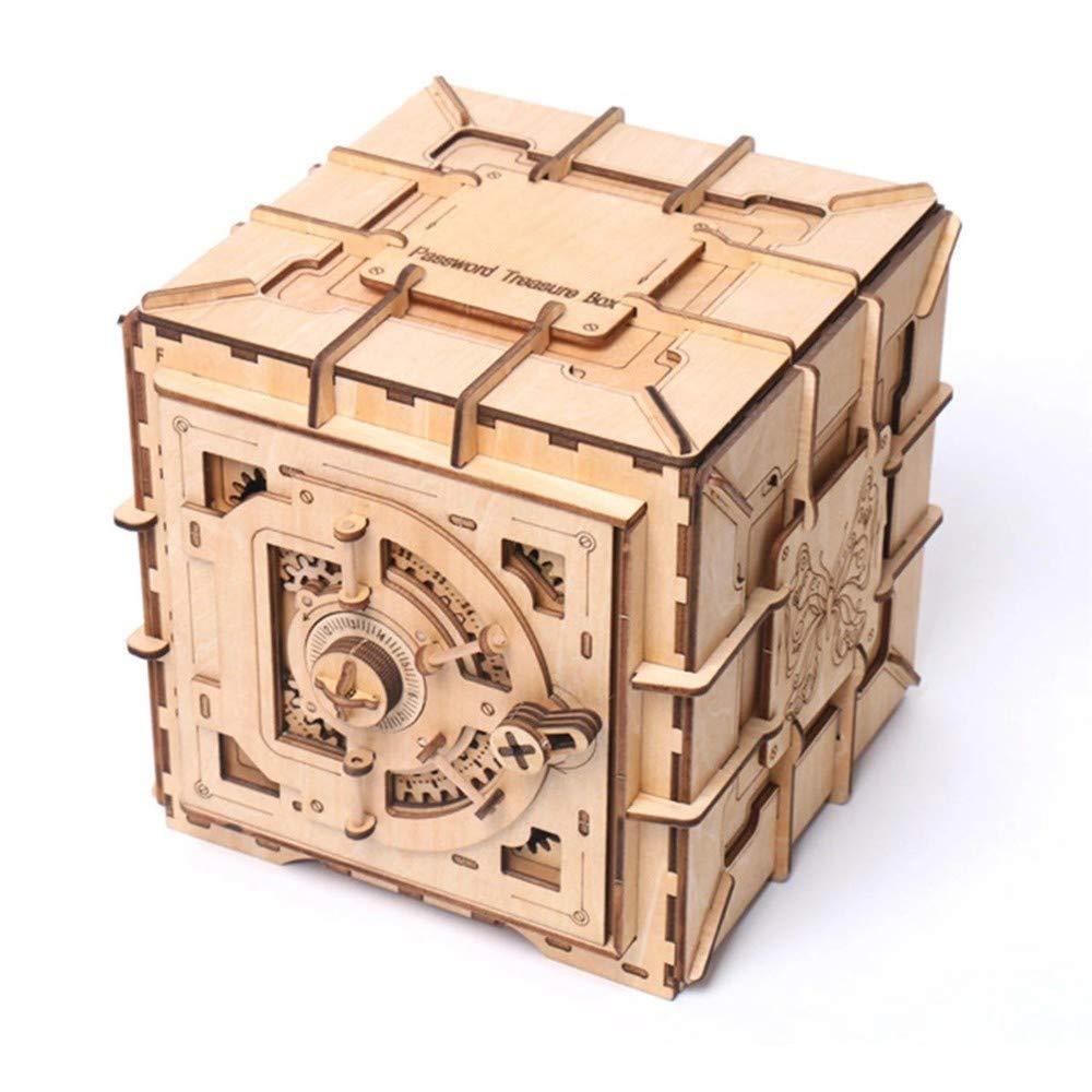 Liergou Rompecabezas de Madera Joyería de Madera mecánica Transmisión del Cofre del Tesoro Caja de Almacenamiento de Monedas Puzzle Juguetes (Color : Wood, tamaño : Un tamaño): Amazon.es: Hogar
