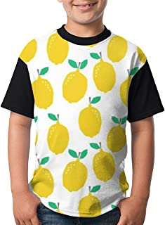 Lemon Fruit Yellow Tropical Citrus Teenager Junior Boy's Girl'S Youth Short Sleeve T Shirt tee Sports Shirts(M,Black)