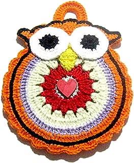 Agarradera naranja de ganchillo en forma de búho - Tamaño: 13 cm x 18 cm H - Handmade - ITALY