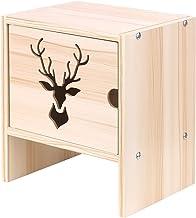 Romacci Organizador de mesa de madeira Padrão de veado com porta 2 camadas Prateleira de armazenamento de mesa de madeira ...