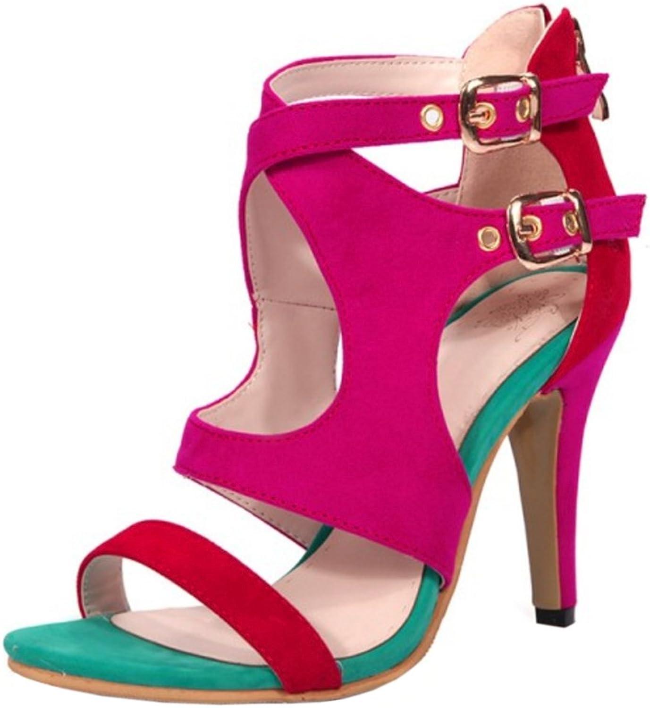 FizaiZifai Women Fashion Summer Boots Stiletto Sandals Cut Out colorful