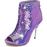 Women's Colorful Stiletto Ankle Boots Sequin Peep Toe Rear Zipper High Heels Short Booties purple Sequin Size US7 EU37