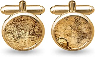 World Map Cufflinks Wedding Vintage Personalised Gifts Father Grandfather Dad Tie Clip Blue