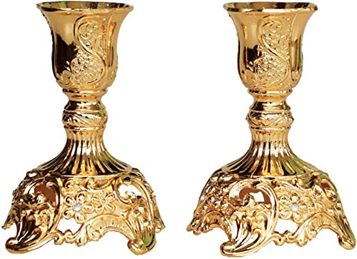popular JAZPlayer Gold Taper Candle Holders with Deluxe Engraved Design, Set of 2 outlet sale Premium Gold Candlestick sale Holders (Gold) online sale