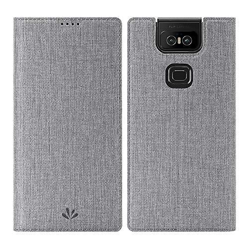 Eastcoo Asus ZenFone 6 ZS630KL Hülle,ZenFone 6 Wallet Handyhülle PU Leder Flip Hülle Tasche Cover Schutzhülle mit [Standfunktion][Magnetic Closure][Card Slots] für Asus ZenFone 6 Smartphone,Grau