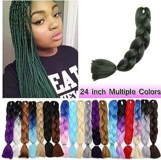 Jumbo Braiding Hair Dark Green 1 Bundle Crochet Twist Hair Extensions 24 inch Box Braids Heat Resistance Synthetic Hair for Women DIY Fun(24