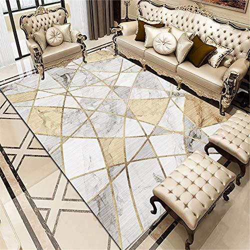 ZHAOPAI Alfombra Grande Salon Alfombra Decorativa Blanca con líneas Doradas, cómoda Alfombra antibacteriana Informal Lavable alfombras de habitacion pequeñas -Blanco_El 180x280cm