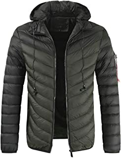 Mens Packable Down Jacket Hooded Lightweight Winter Puffer Coat Outerwears