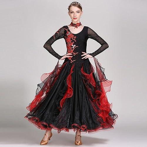 Haute Qualité Femmes Moderne La Danse de Salon Robes de Perforhommece Spandex Tulle avec des Strass 1 Pièce Robe à Manches Longues