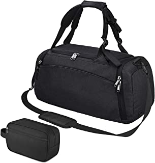 Sports Gym Bag Duffel Bag with Toiletry Bag Waterproof Travel Duffle Bags for Men Women Overnight Weekender Backpack with Shoes Compartment Dark Black