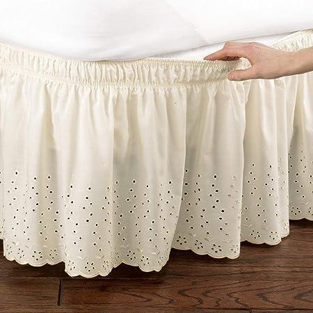 Feyart Falda de cama envolvente con ojales, volantes, 15 pulgadas de caída (beige, súper king (180 x 200 + 38 cm)