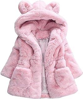 51071cbff756d Longra Manteau à Capuche Bébé Fille Hiver Chaud Fourure Ultra Épais  Oreilles de Lapin Forme Vêtements