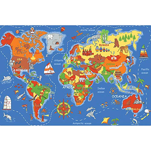 Learning Carpets Where in The World Play Carpet  79 x36   Kids/Baby Daycare Furniture & Playroom Rug  Preschool/Homeschool/Classroom Use  (LC177-2020)