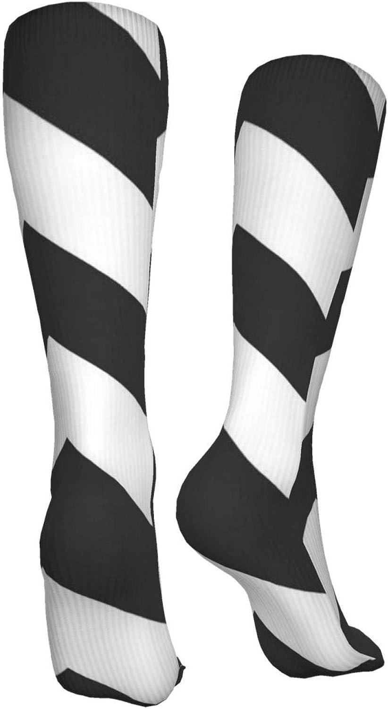 Gray And White Zig Zag Women Premium High Socks, Stocking High Leg Warmer Sockings Crew Sock For Daily And Work