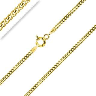PLANETYS - Catenina Argento Sterling 925 Placcato Oro 18K Modello Barbazzale (Grumetta) Diamantate Larghezza 2 mm Lunghezz...