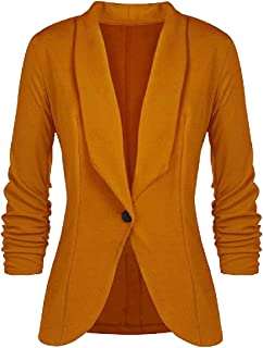 MogogoWomen Lapel Solid Color Outwear Work Casual Draped Small Blazer