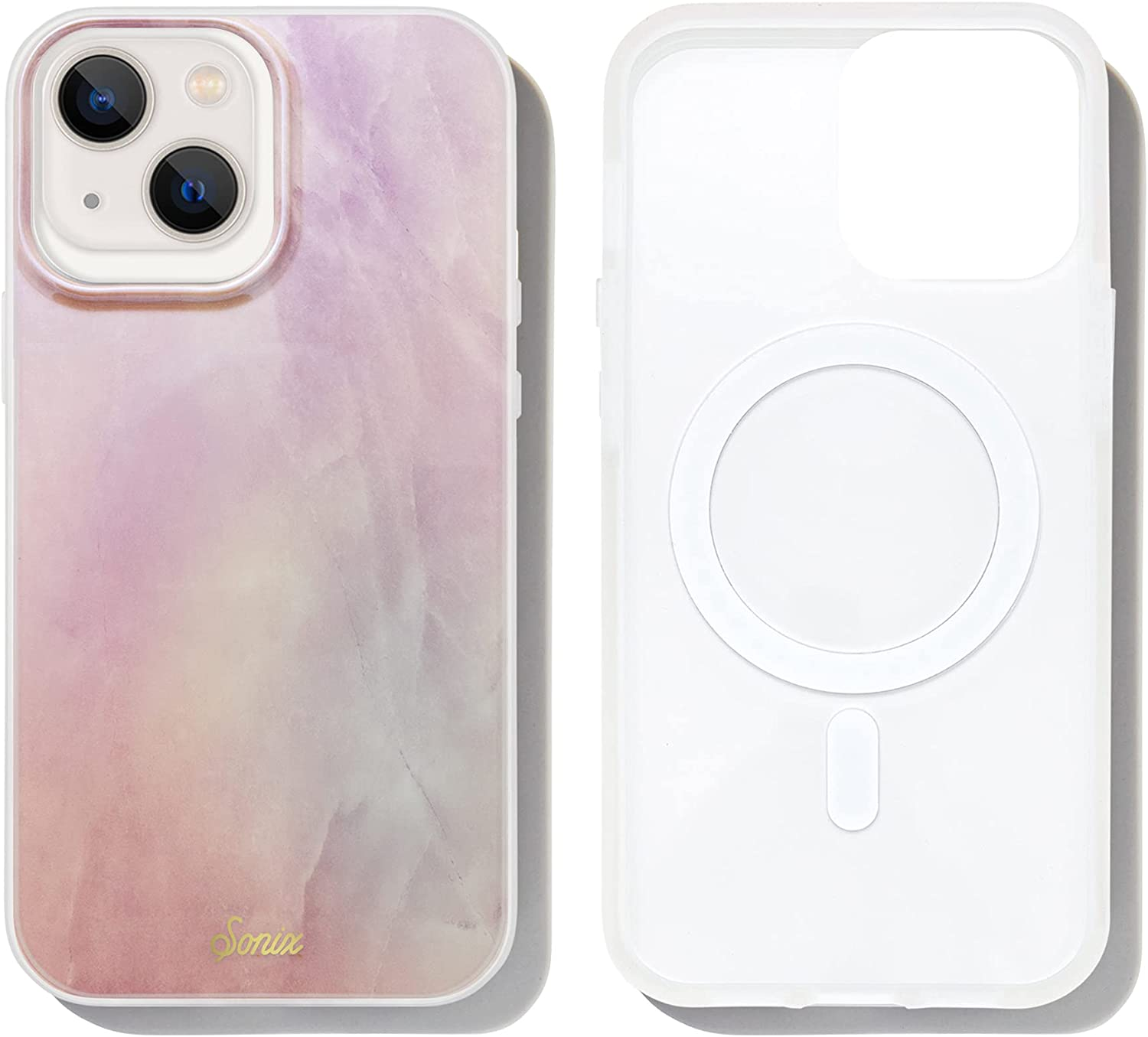 Sonix Pink Quartz Case for iPhone 13 Compatible with MagSafe Charging [10ft Drop Tested] Protective Pink Marble Cute Cover for Apple iPhone 13
