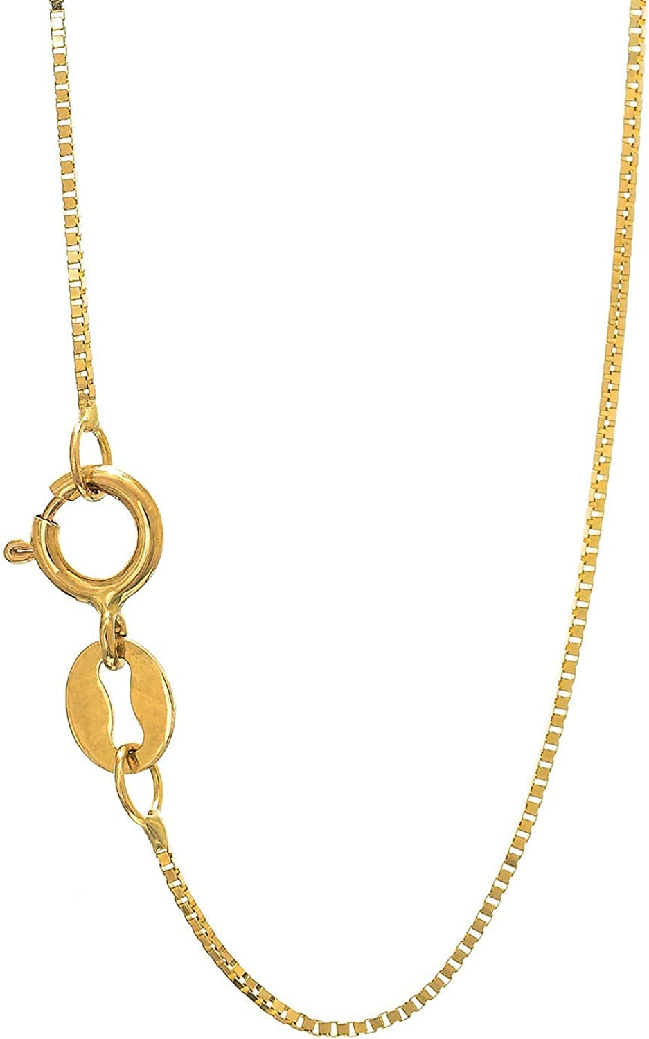 JewelStop 10k Solid Gold Yellow White Or Rose 0.6 mm Box Chain Necklace - 14 16 18 20 24