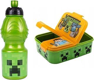 GOLDKIDS Minecraft oranje broodtrommel 18,5 x 13,5 x 5,5 cm kinderen lunchbox lunchbox broodtrommel voor ontbijt box drink...