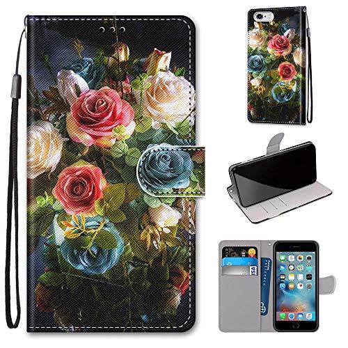 Miagon PU Cuir Coque pour iPhone 6S / 6,Coloré Motif Portefeuille Étui Housse Cover avec Stand Support Porte-Cartes de Crédit,Floraison Fleur