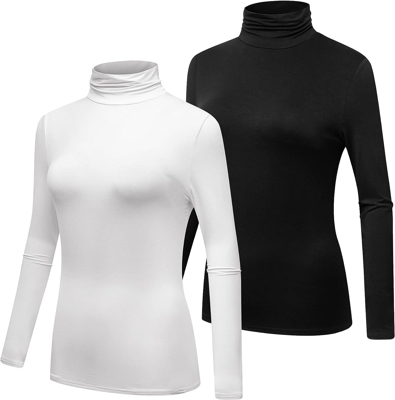 Formeet17 Women's 2-Pack Long Sleeve Turtleneck T-Shirt Basic Stretchy Layer Comfy High Neck Shirt