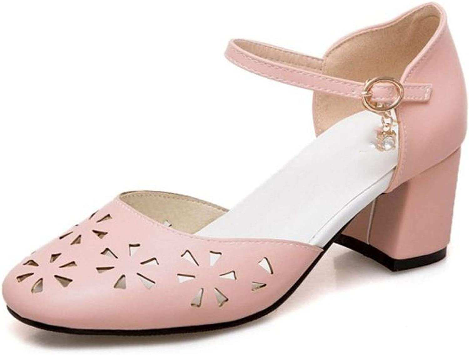 Size 32-52 Women High Heel Sandals Round Toe Buckle Thick Heel Women Summer shoes Hollow Out Sweety for Party shoes,Pink,11.5