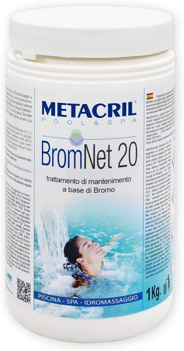 Metacril Brom Net 20 - Bromo de lenta lenta en pastillas de 20 g, para piscina e hidromasaje (Teuco, Jacuzzi, Dimhora, Intex, Bestway, etc.).