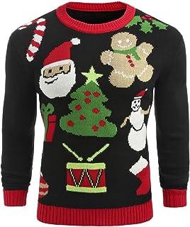 HenShiXin Los Hombres de Ronda Santa Claus Vacaciones Suéter Suéter De Cuello Redondo Informal Desplumar Elegante Kimono Imprimir (Color : Black, Size : L)