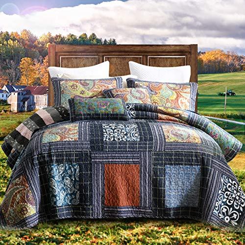 NEWLAKE Baumwoll-Patchwork-Tagesdecke, 3-teiliges Bettwäscheset mit echter Stickerei, wendbare Matelasse-Bettdecken-Set, Vintage-Blumenmuster, King-Size-Größe