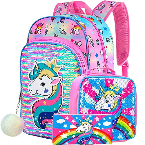 Unicorn Backpack, 16' Sequin Backpacks and Lunch Box for Girls