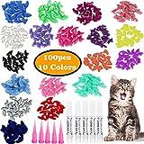 VICTHY 100pcs Cat Nail Caps, Colorful Pet Cat Soft Claws Nail Covers