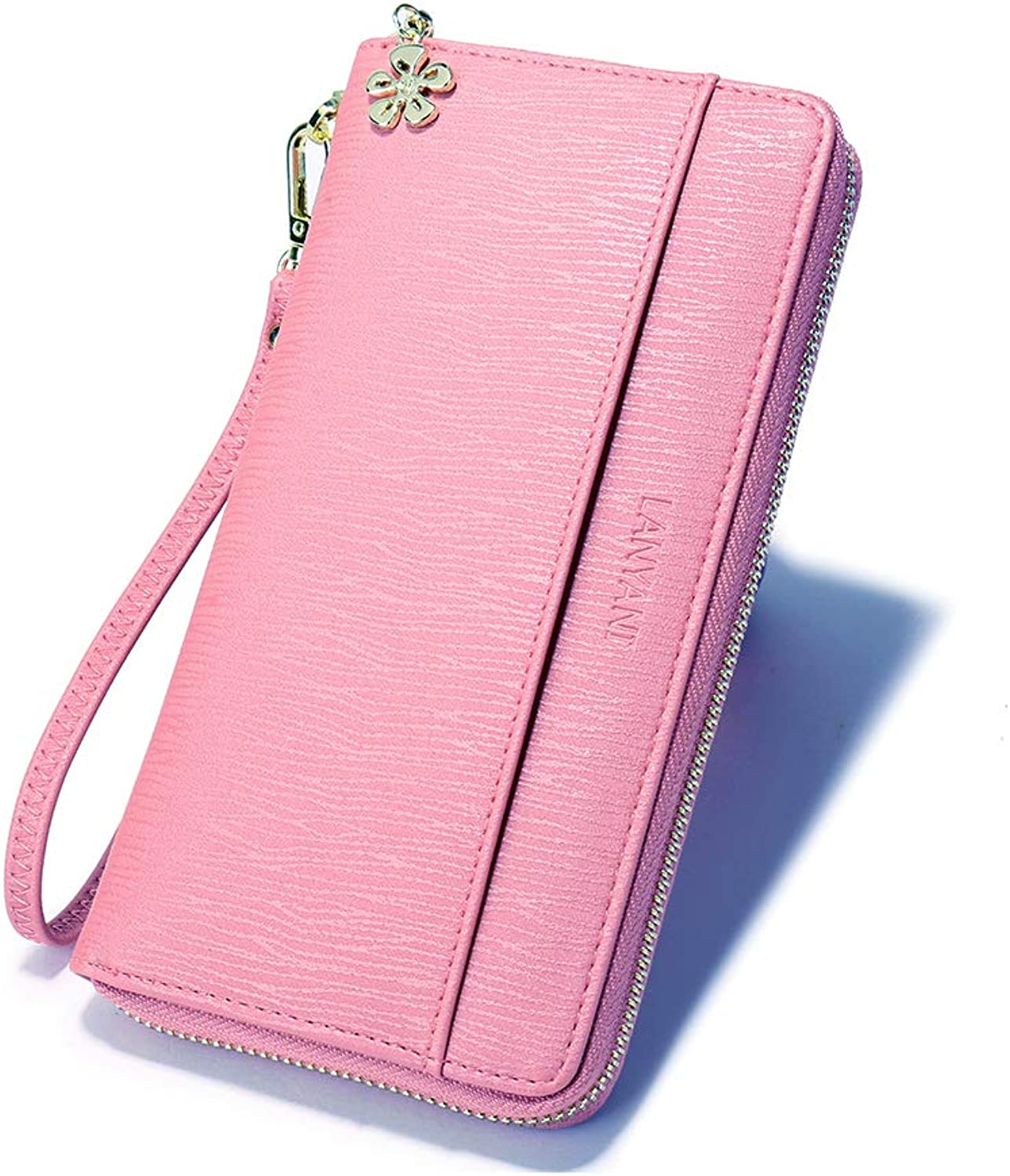 Large Wallets for Women ladies Clutch Phone Holder Card Organizer Girls PU Leather Wristlet Purse with Wrist Strap Zipper closure purle