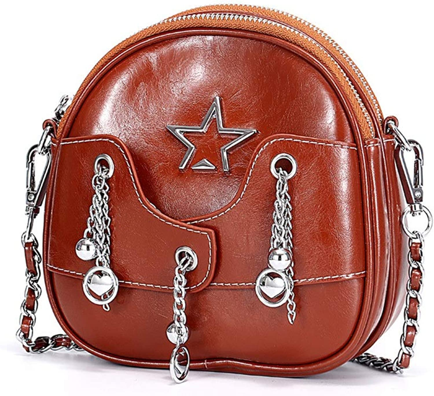 Sturdy Women's Leather Crossbody Chain with Chain Pendant Personality Portable Casual Everyday Weekend Leisure Travel Messenger Handbag Large Capacity (color   Brown)